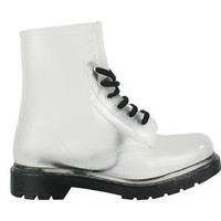 Womens flat clear festival jelly wellies carnival waterproof wellington boots