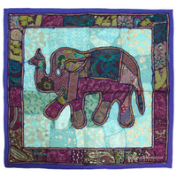 Purple Indian Elephant Vintage Patchwork Tapestry Wall Hanging Ethnic Home Decor Art