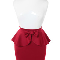 Plus Size Adorable Bow Peplum Rose Skirt, Plus Size Clothing, Club Wear, Dresses, Tops, Sexy Trendy Plus Size Women Clothes