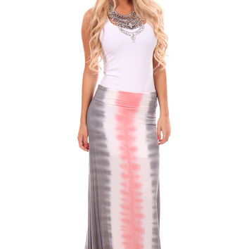 Coral Accent Tie Dye Maxi Skirt