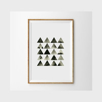 Modern Art Print . Minimal Triangle Watercolor Art . Print from an Original Geometric Painting . Black White Art