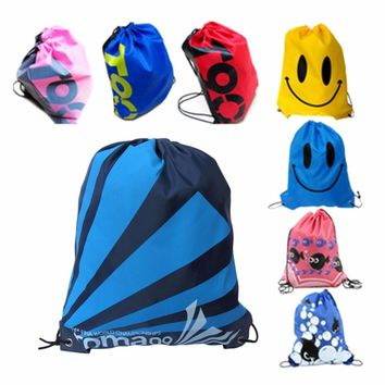 Wholesale Swimming bags Drawstring Beach Bag Sport Gym Waterproof Backpack Swim Dance Drawstring Oxford Bag free shipping