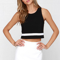 Touchdown Black Crop Top