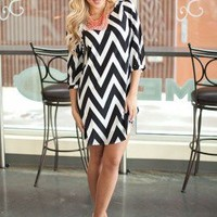 BLACK Zipper Back Chevron Dress - Modern Vintage Boutique