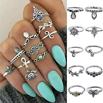 Womens 10 piece Above Knuckle Blue Rings