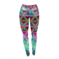 "Alveron ""Neon Geo Galaxy"" Map Yoga Leggings"