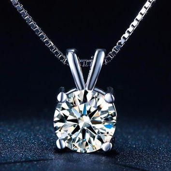 CZ Solitaire White Gold Plated Wedding Pendant Necklace