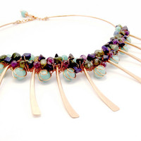 Copper And Gemstone Cluster Necklace
