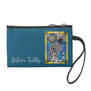 Whimsy Silver Tabby Cat with Mandala Coin Purse