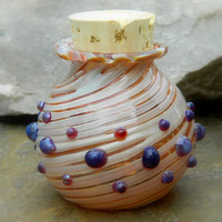 Hand Blown Amber Purple Stash Jar