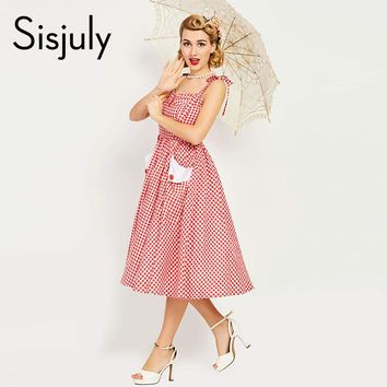 Sisjuly Women Vintage Dress Pin Up Red Plaid Elegant Dress Fashion Button Sleeveless With Pocket Retro Dress Vintage Dresses