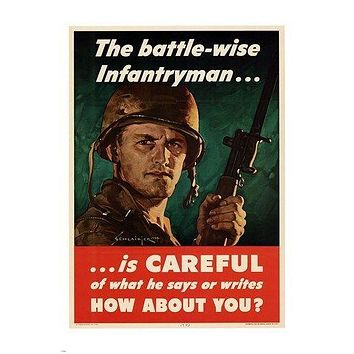the battle-wise infantryman VINTAGE PROPAGANDA POSTER army COLLECTORS 24X36