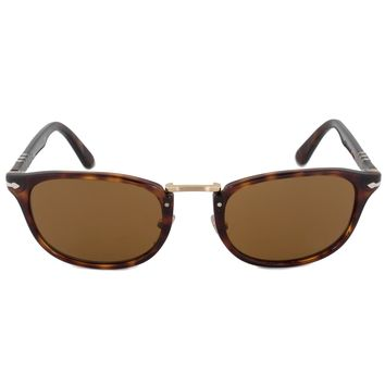 Persol Typewriter Edition Square Sunglasses PO3127S 24 33 52 | Havana Frame | Brown Lenses