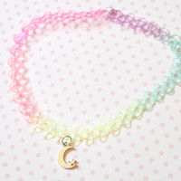 Pastel Rainbow Crescent Moon 90s Tattoo Choker