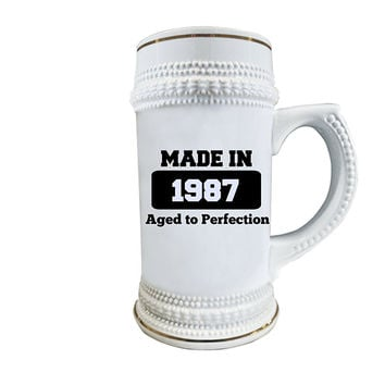 30th Birthday Beer Stein - Awesome, Ceramic Glass Gag Gifts for Men and Women