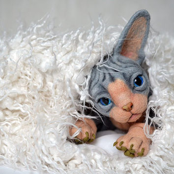 Needle felted kitten Sphynx. BJD from wool. Animal portrait. Collectible toy. OOAK doll. Feline lovers gift