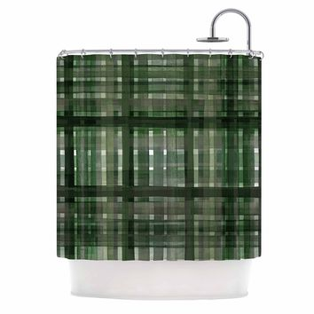 "Ebi Emporium ""PLAID FOR YOU, DARK GREEN"" Olive Green Stripes Pattern Mixed Media Painting Shower Curtain"