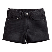 H&M - Denim Shorts High waist - Black - Ladies