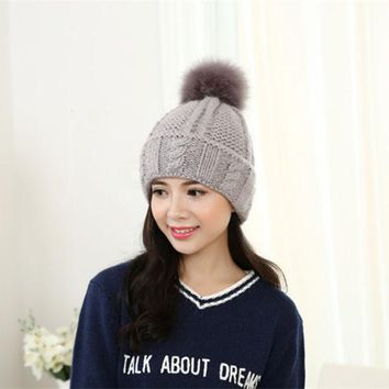LMF9GW The new knitting wool sweater hat Women thick winter hair ball head cap IGE letters curling warm hat