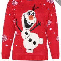 OLAF FROZEN JUMPER SWEATER WITH 3D NOSE XMAS LADIES MENS WOMENS SNOWFLAKE