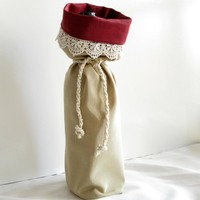 Gold and Burgundy satin wine gift tote bag with pearl and satin tie