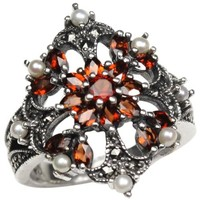 Garnet Fire Burst Cultured Seed Pearl Sterling Silver Ring - Dahlia Vintage Collection
