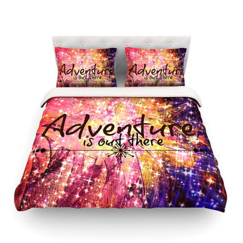 "Ebi Emporium ""Adventure is Out There"" Pink Typography Featherweight Duvet Cover"