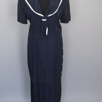 Plus Size Vintage 1980s does 1920s Navy Blue White Striped Nautical Sailor Girl Drop Waist 20s 1940s Style Pleated Day Shift Dress Size 12