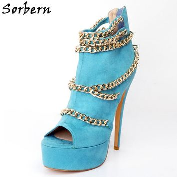Sorbern Blue Open Toe Womans Shoes Fashions 2017 Sexy High Heels With Chain Zip Heel Slip On Woman Heels Custom Colors 2018 New