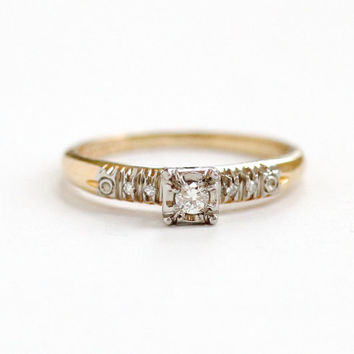Vintage 14K Yellow Gold Diamond Ring - Size 6.5 1950s Mid-Century Fine Engagement Wedding Jewelry With Heart Motifs