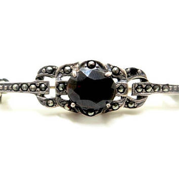 Vintage Sterling Marcasite Brooch, Garnet Glass Stone, Art Deco Bar Pin, Art Deco Jewelry