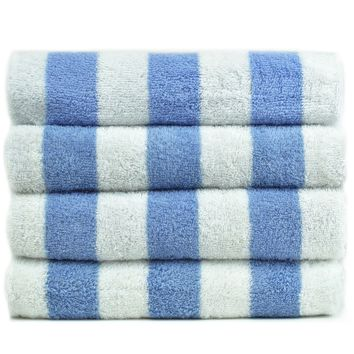 Luxury Hotel & Spa Towel 100% Genuine Turkish Cotton Pool Beach Towels - Light Blue - Cabana  - Set of 2