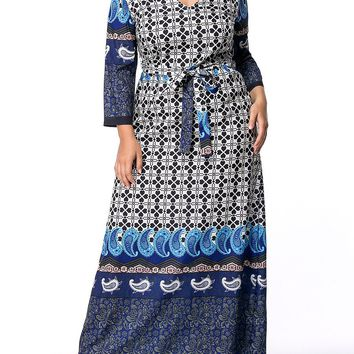 Streetstyle  Casual V-Neck Paisley Printed Long Sleeve Plus Size Maxi Dress