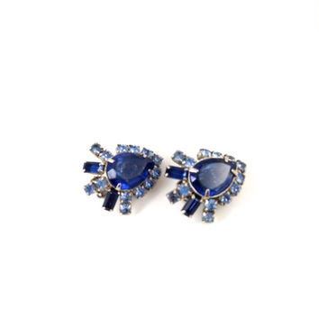 Vintage Rhinestone Earrings; 1950's Sapphire Blue Clip On Earrings; Beautiful Condition; Valentine's Day, Mother's Day