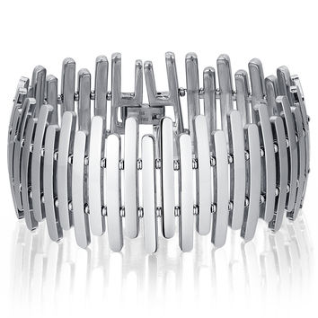 Stainless Steel Vertical Strips Link Bracelet