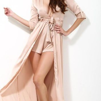 Fashion Nude Color Flash Fabric Long Sleeve Jumpsuits