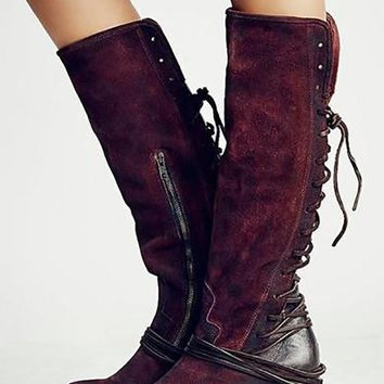 New Red Round Toe Chunky Fashion Knee-High Boots