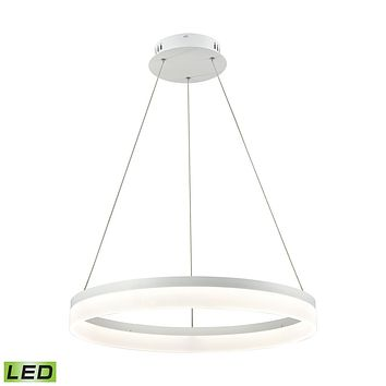 1 Light LED Pendant in Matte White with Acrylic Diffuser - Medium