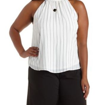 Plus Size Striped Mock Neck Swing Crop Top