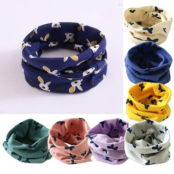 Baby Cotton Scarf Cute Print Children Warm Scarves Autumn Winter Kids Boys Girls O Ring Neck Collars Scarf
