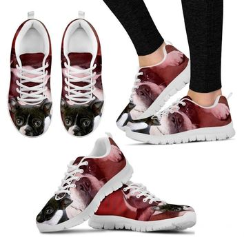 Boston Terrier Puppy Print Running Shoe For Women- Free Shipping