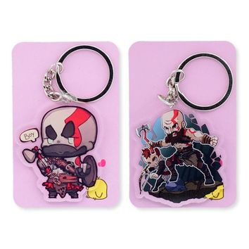 God of War Double Sided Clear Keychain Kratos Key Chain Hot Sale Custom made Anime Key Ring PCB174-175