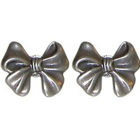 ".5"" Cute Bow Earring Studs, Vintage Tooling, Gpexclusive, USA! , in Burnished Silver"