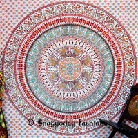 White Psychedelic Peacock Parrot Mandala Tapestry, Indian Hippie Wall Hanging, Bohemian Wall Hanging, Bedspread Beach Coverlet Beach throw