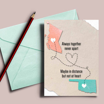 """Personalized states card """"always together never apart"""""""