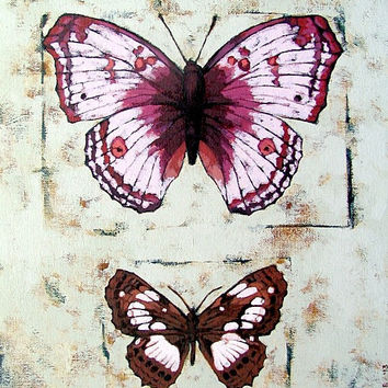 "SALE / original butterfly painting on canvas, 14"" x 11"", red violet"