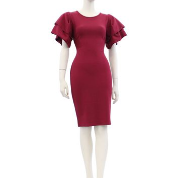 Solid Color Short Sleeve Midi Knee Length Dress Size S-3XL FA2975