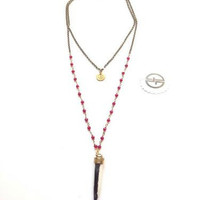 Garnet Crystal Necklace with Black & White Horn