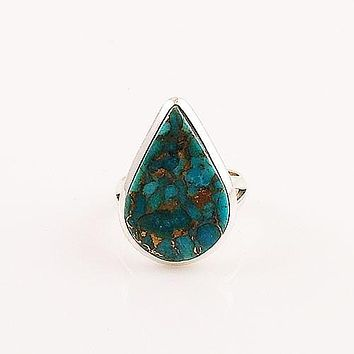 Blue Copper Turquoise Pear Sterling Silver Ring