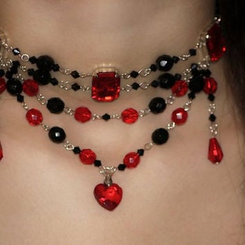 Choker Necklace Queen of Hearts  - Zelda Inspired, Red Heart with black beads, Victorian, Gothic, Lolita, Burlesque